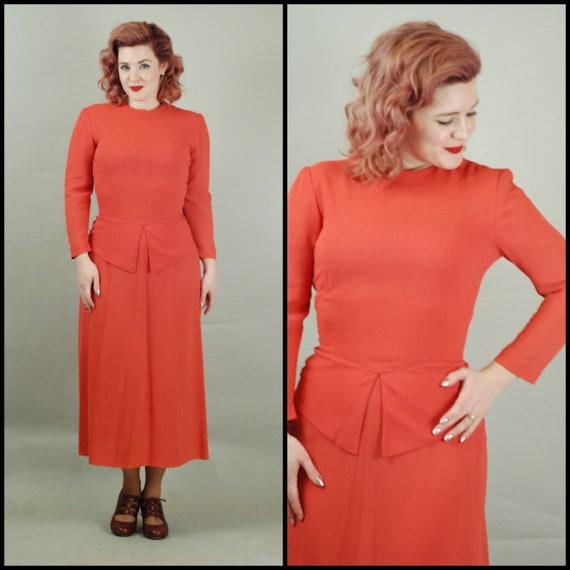 1940s Dress | 40s Coral Crepe Dress with Bustle -