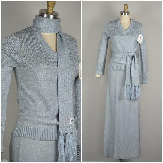 1970s Knitwear |  Flashy Silver 70s Deadstock Disc