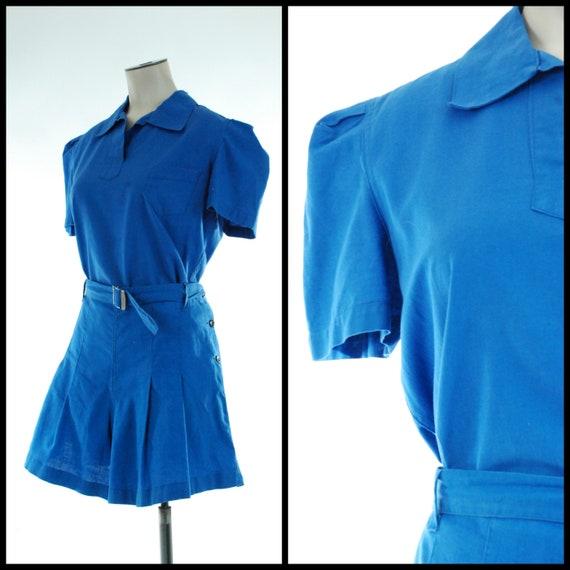 1930s Gym Set | Charming 30s Blue Cotton Athletic