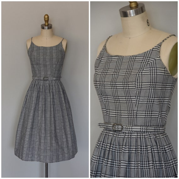1950s Dress | Lovely 50s Cotton Houndstooth Dress