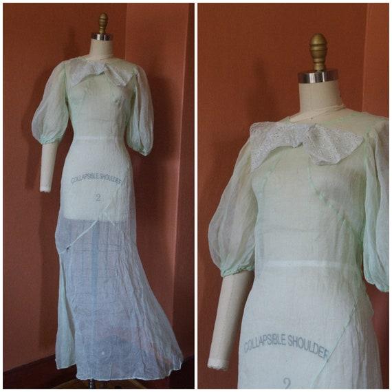 1930s Dress | Charming 30s Green Organza Dress wit