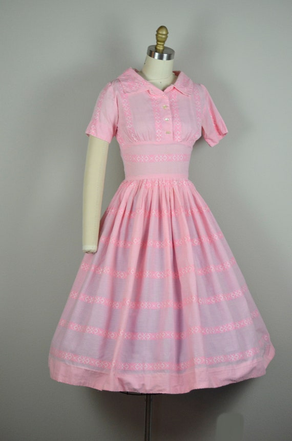 1950s Dress | Sweet 50s Pink Gingham Cotton Dress… - image 5