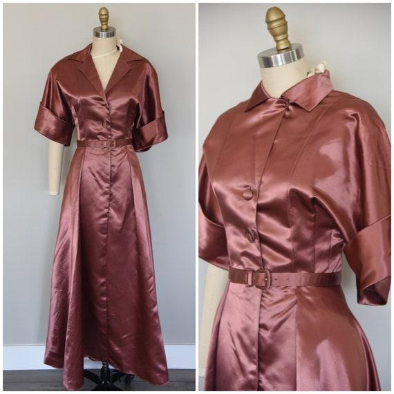 1940s Dress | Astounding 1940s Dusty Rose Satin Lo