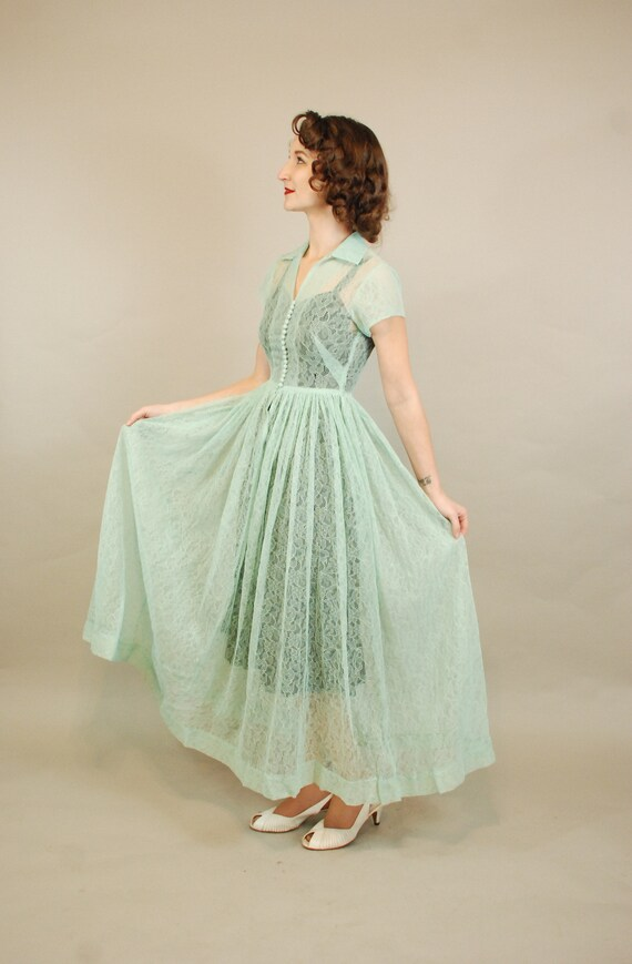 1940s Dress | Lovely 40s Seafoam Green Lace Dress… - image 7