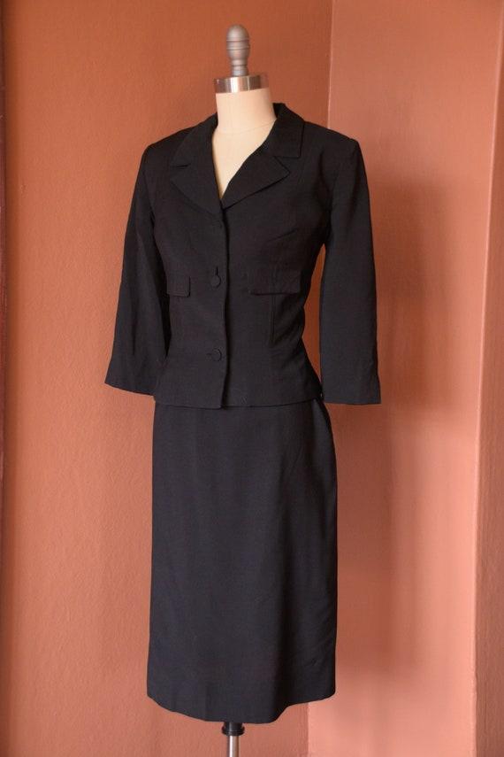 SALE - 1940s Suit | Smart 40s Black Suit with Cro… - image 7