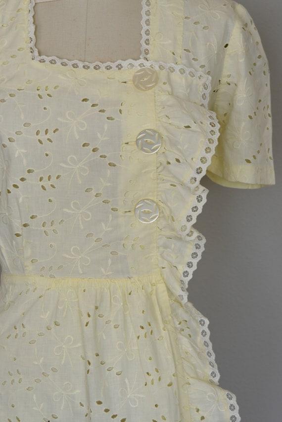 1930s Dress | Crisp 30s Cotton Eyelet Dress with … - image 4