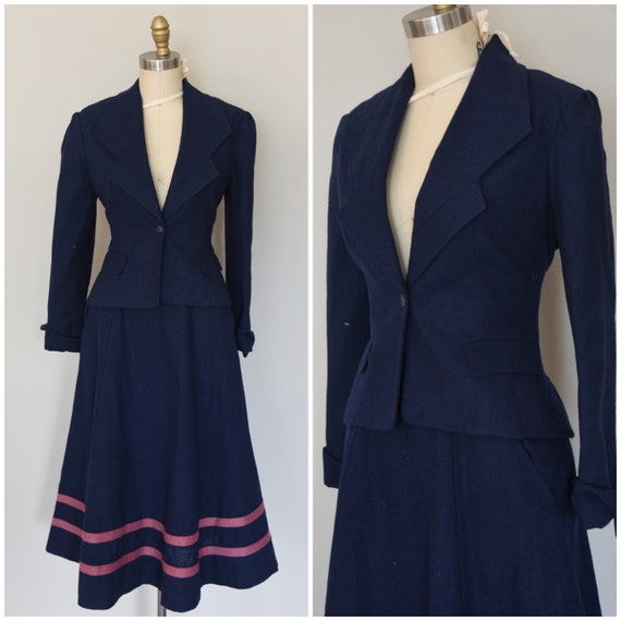 1970s Suit | Wonderful 70s Thick Wool Navy Blue an