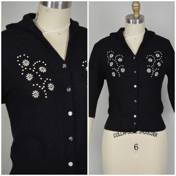 1950s Sweater | Lovely 50s Black Wool Beaded Cardi