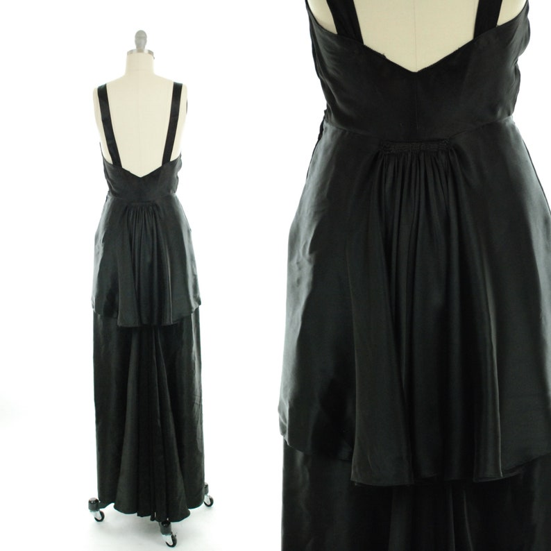 2228eb74d0c 1930s Dress 1930s Black Silk Evening Dress with Low back and