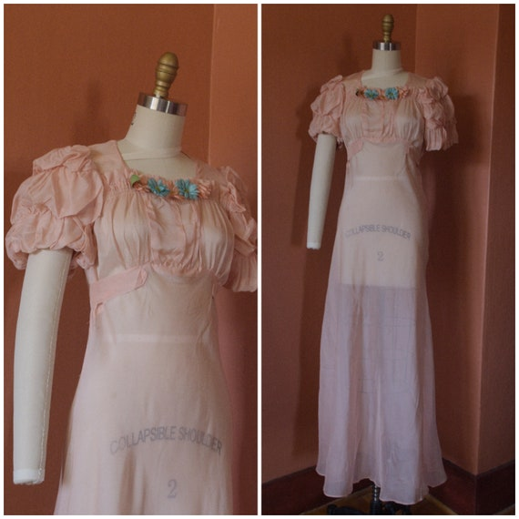1930s Dress | Darling 30s Sheer Peach Bias Cut Dre