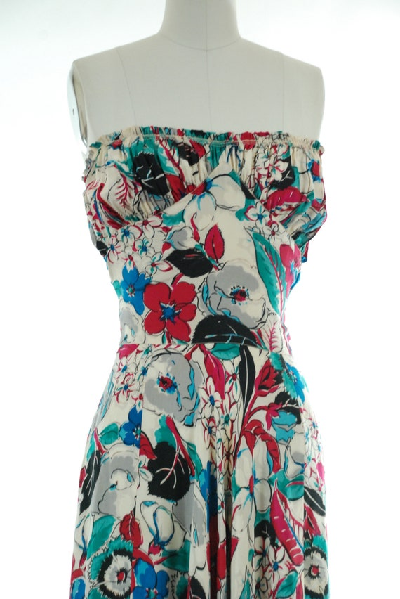 1930s Evening Gown   30s Strapless Silk Watercolo… - image 3