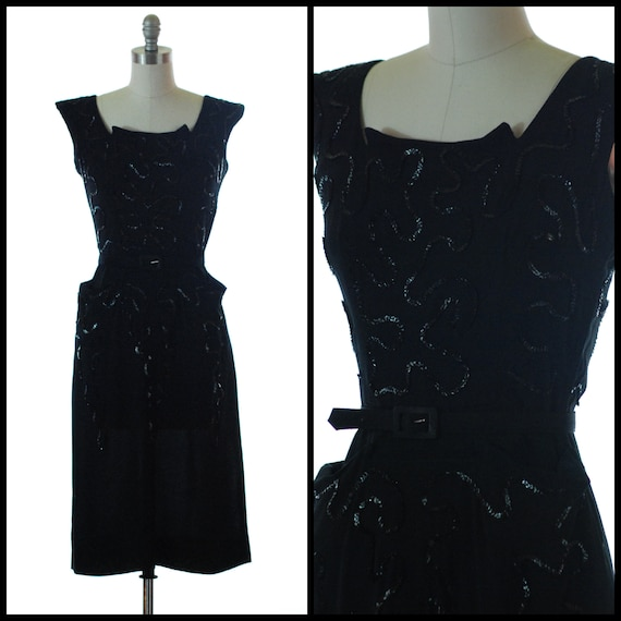 1940s Dress | 40s Black Rayon Sequined Dress - Siz