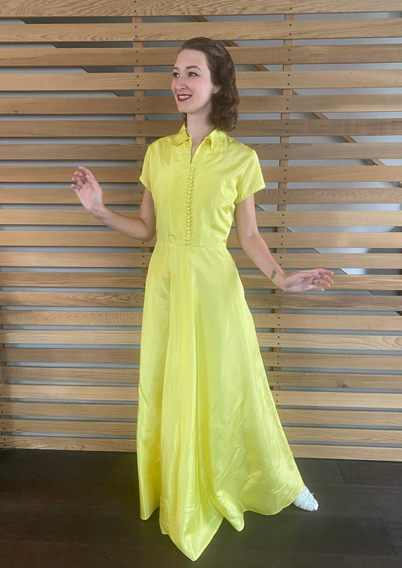 1940s Dress   Vibrant Chartreuse Yellow 40s Gown … - image 2