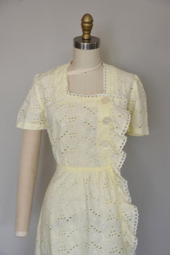 1930s Dress | Crisp 30s Cotton Eyelet Dress with … - image 3