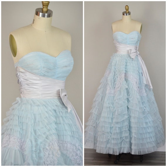 1950s Dress | Dreamy Pale Blue 1950s Ruffle Tiered