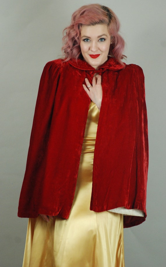 SALE - 1930s Cape | 30s Silk Velvet Red Cape with… - image 4