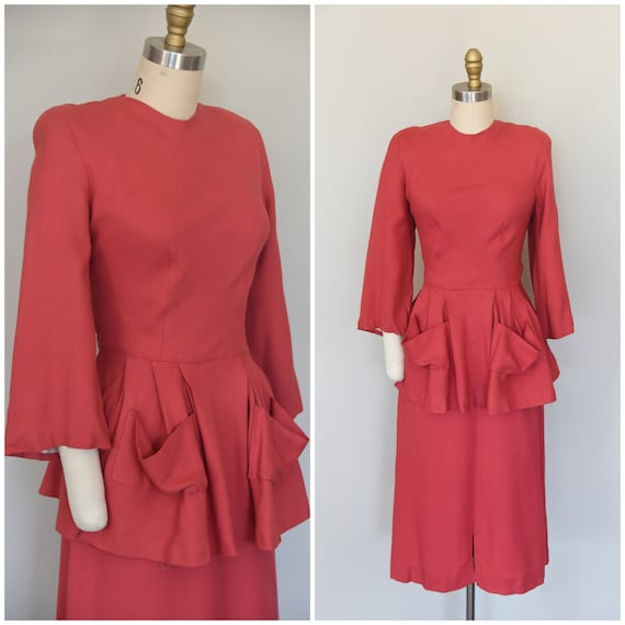 1940s Set | Fantastic Coral 1940s Wool Blouse and