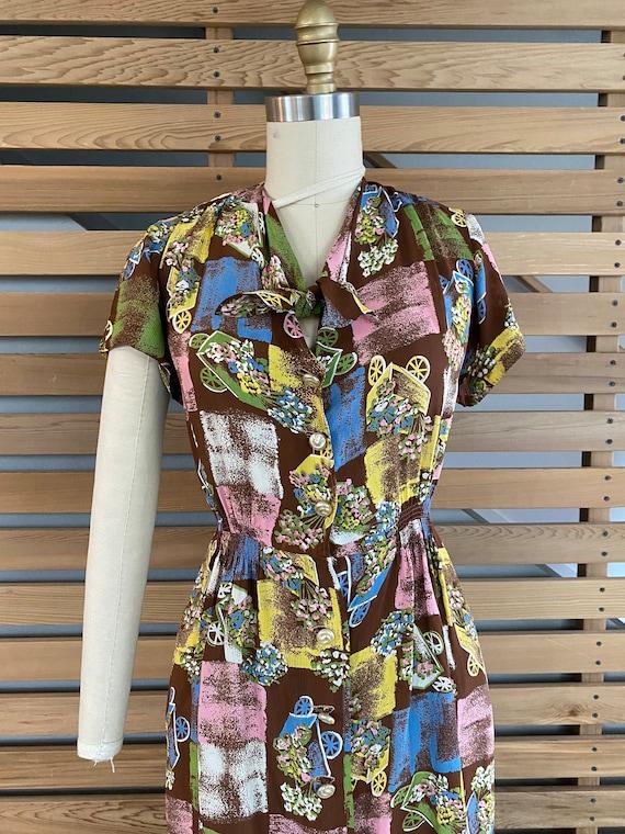 1940s Dress | Fab 40s Flower Wagon Novelty Print … - image 3
