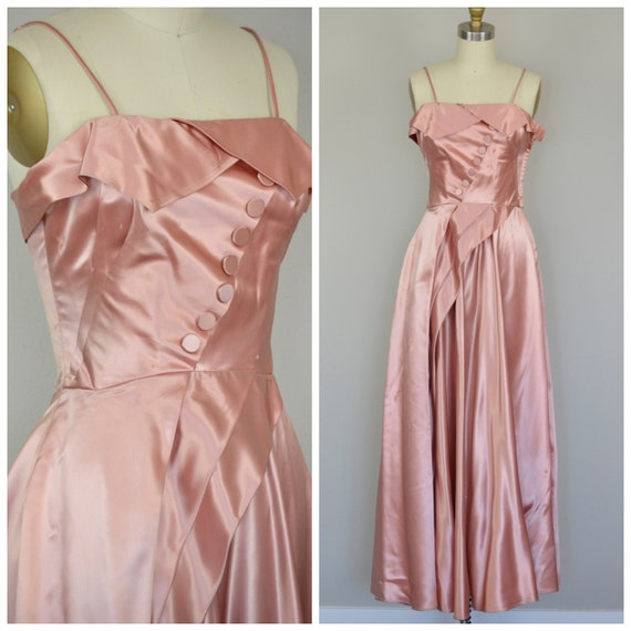 1940s Dress   Lovely 40s Dusty Pink Satin Gown wit