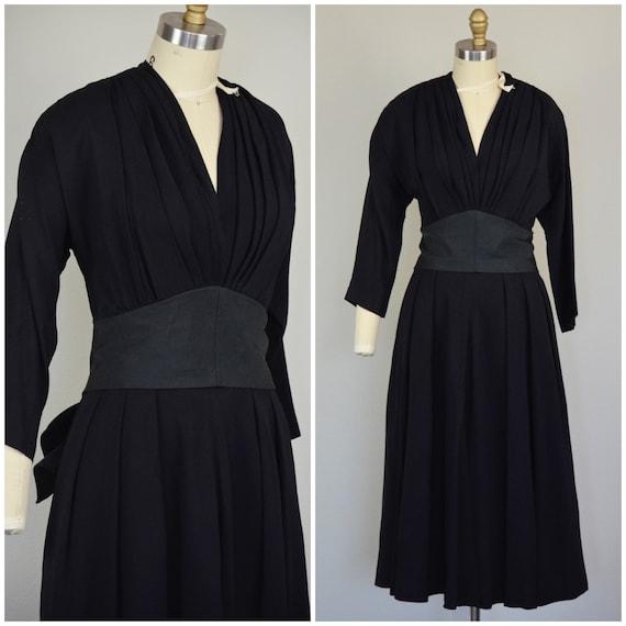 1950s Dress | Late 40s/Early 50s Black Rayon Dress
