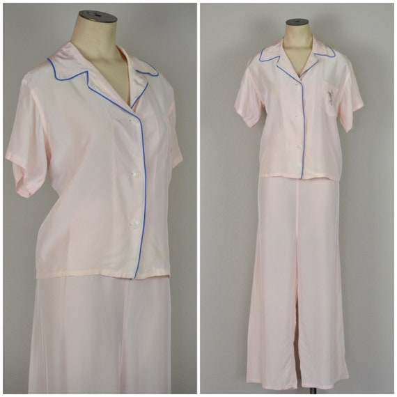 1940s Pajamas | Beautiful 40s Pink Rayon Pajama Se
