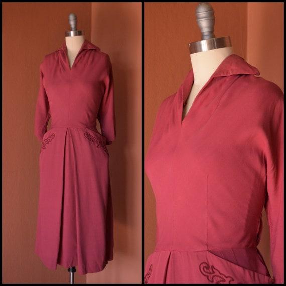 1940s Dress | Chic 40s Raspberry Gabardine Dress -