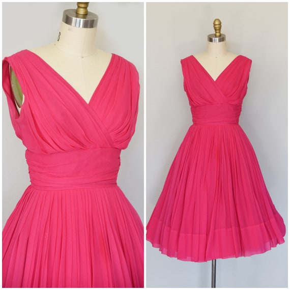 1950s Dress | Lovely 50s Pink Chiffon Dress with W