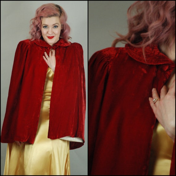 SALE - 1930s Cape | 30s Silk Velvet Red Cape with
