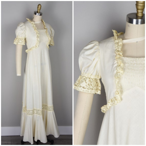 1960s Dress | Late 1960s Flower Child Ivory Emma D