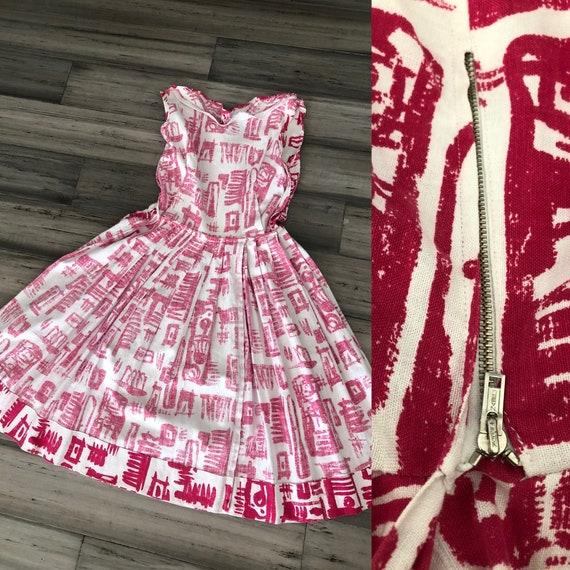 1950s Dress Set | Striking 50s Linen Fit and Flar… - image 9