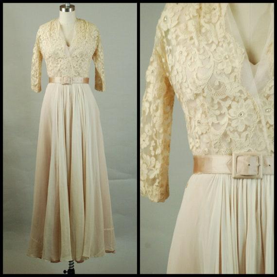 1940s Wedding Dress | Lush 40s Lace and Silk Chiff