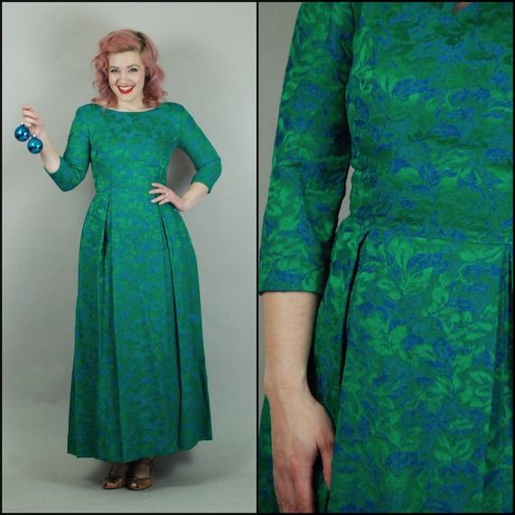 1950s Dress   1960s Green and Blue Brocade Evening