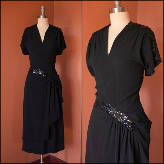 1940s Dress | 40s Black Sequin Day dress with Hip