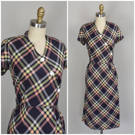 1940s Dress | Charming 40s cotton Dress with Rainb