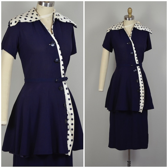 1940s Dress | Smart 40s Navy Blue Rayon Dress with