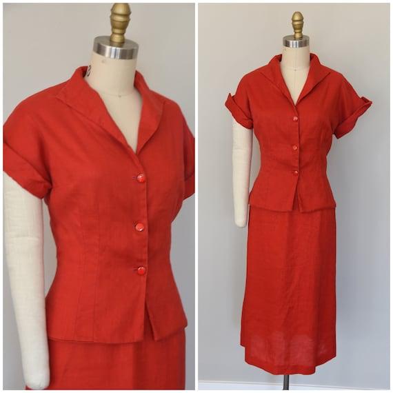1940s Suit | Smart 40s Lipstick Red Linen Suit - S