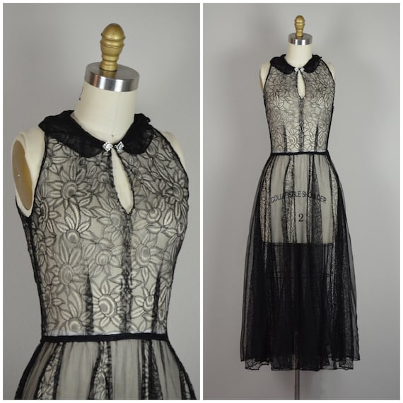 1930s Dress | Dramatic 30s Black Lace and Mesh Dre