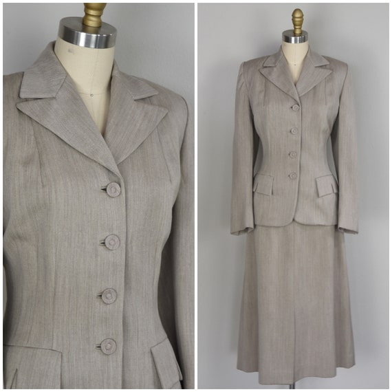 Reserved - 1940s Suit | Lovely 40s Light Oatmeal W
