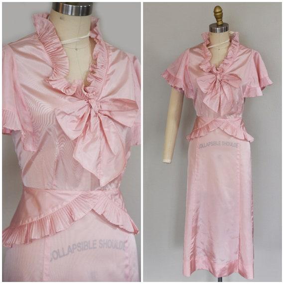 1930s Dress | Precious 1930s Acetate Pink Dress wi