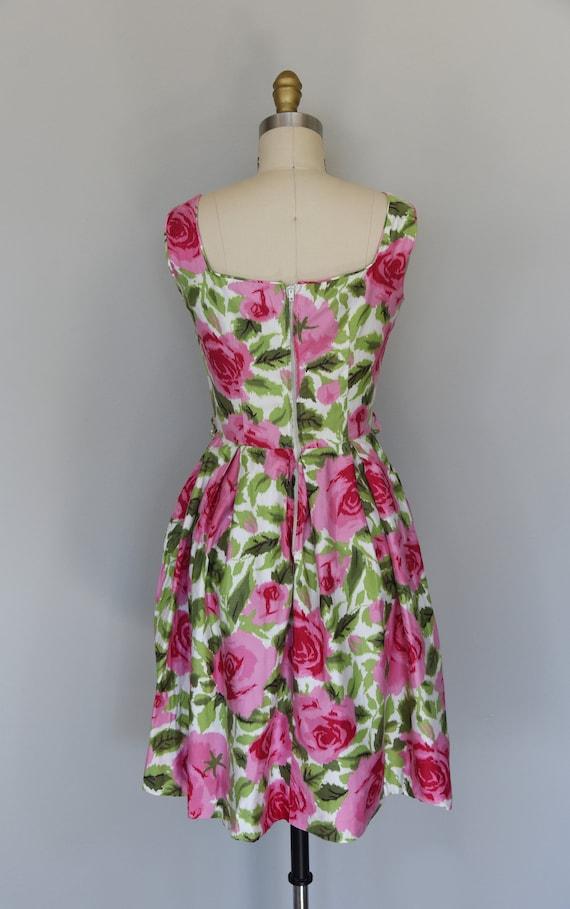 1950s Dress | Lovely 1950s Cotton Rose Print Dres… - image 6