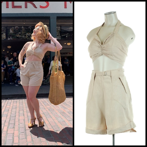 1950s Playsuit | 50s Linen Taupe Sun Top and Short