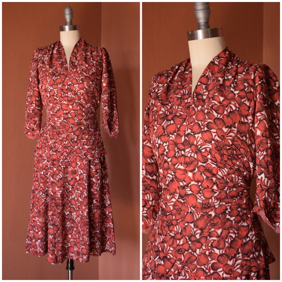 1940s Dress Set | Vibrant 40s Red and White Cold R