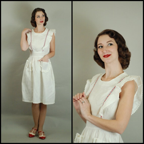 1940s Pinafore | 40s White Linen Pinafore Dress wi