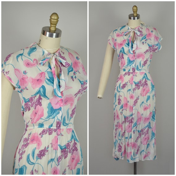 1970s Dress | Fluttery 70s Rayon Floral Deadstock