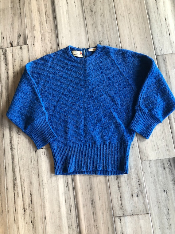 1950s Sweater | Vibrant Blue Textured Boucle Wool