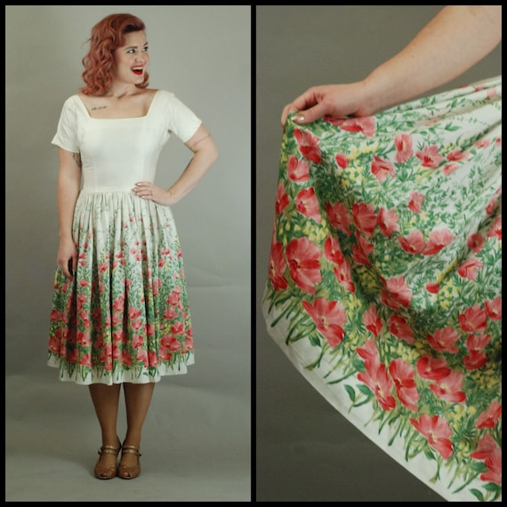 1950s Dress | Glorious 50s Polished Cotton Dress w
