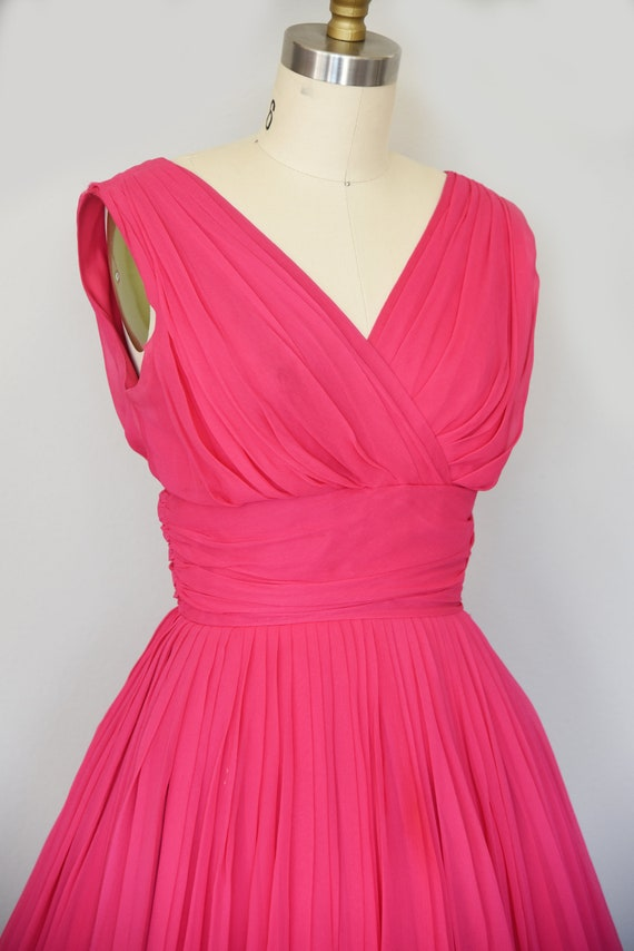 1950s Dress | Lovely 50s Pink Chiffon Dress with … - image 6