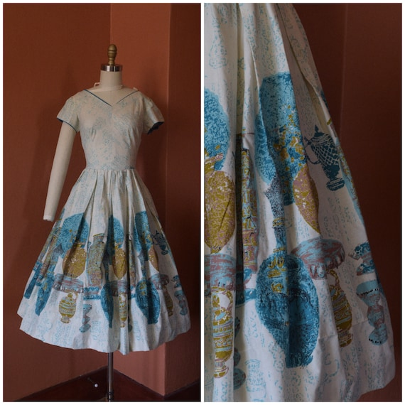 1950s Dress | Phenomenal 50s Novelty Print Dress w