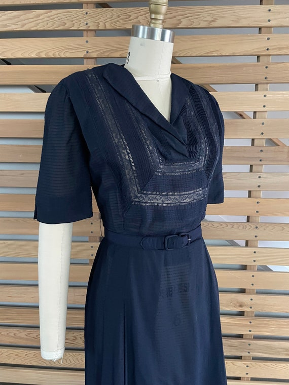 1940s Dress   Lovely 40s Rayon Sheer Dress with L… - image 6