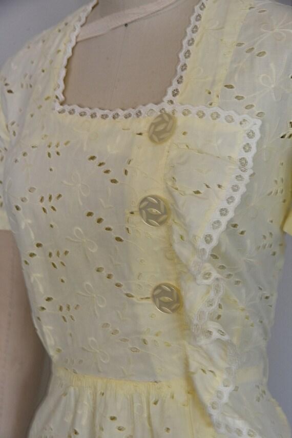 1930s Dress | Crisp 30s Cotton Eyelet Dress with … - image 7